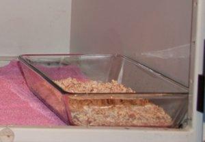 Glas‐Auflaufform gefüllt mit Maisspindelgranulat, verwendet als Rattentoilette (Bild: Nienor)